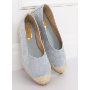 Moderní dámské semišové espadrilky v krásné světle modré barvě