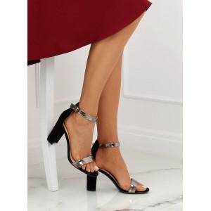 Stylové dámské sandály černé barvy s páskem kolem nohy