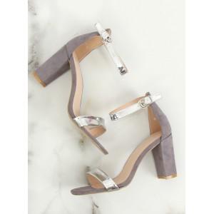 Luxusní dámské sandály na módním podpatku se stříbrnými pásy