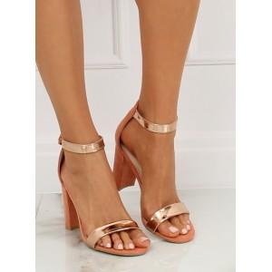 Elegantní dámské růžové sandály s metalickými pruhy v růžovém zlatě