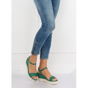 Trendy dámské semišové zelené sandály na pletencový platformě