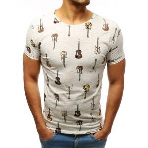 Moderní pánské tričko krémové barvy s trendy potiskem hnědých kytar