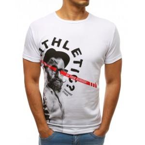 Moderní pánské bílé tričko s krátkým rukávem s top designem a nápisem