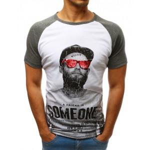 Bílé pánské tričko s krátkým rukávem se stylovým potiskem a nápisy