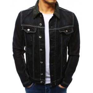 Originální pánská černé jeansové bunda s bílým prošíváním