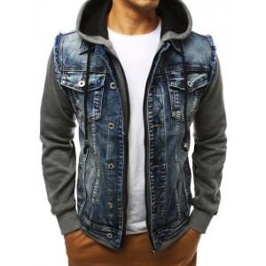 Originální pánská riflová bunda na zip s kapucí a rukávy z bavlny