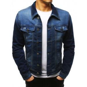 Moderní modrá pánská riflová bunda do pasu