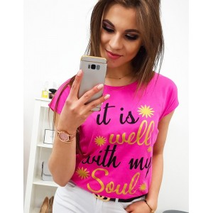 Módní neonově růžové dámské tričko s cool nápisem