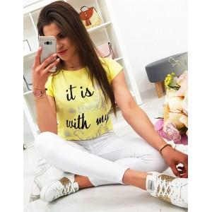 Pohodlné dámské tričko citronově žluté barvy s nápisem
