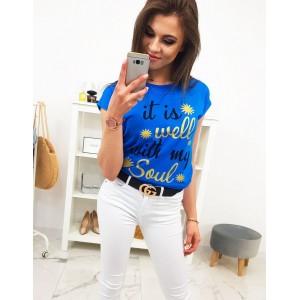 Dámské modré tričko s krátkým rukávem a nápisem