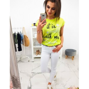 Limentkovo žluté dámské letní tričko s krátkým rukávem a trendy nápisem