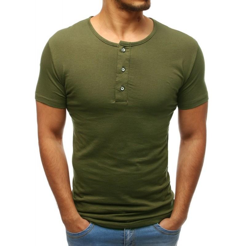 0e64259b2 Bavlněné pánské tričko s krátkým rukávem zelené barvy