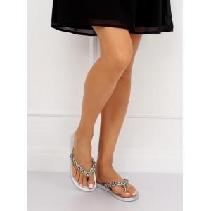 Dámské letní pantofle v šedé barvě s kamínky