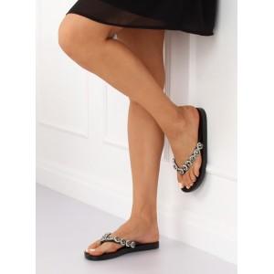 Kamínkové pantofle v černé barvě na léto