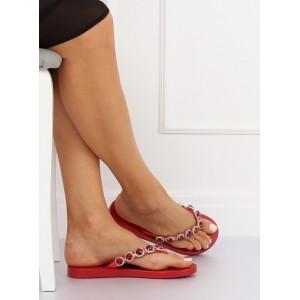 Červené oblázkové pantofle na léto pro dámy