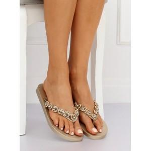 Zlaté dámské letní pantofle s kamínky