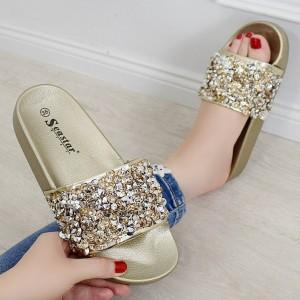 Dámské třpytivé pantofle na platformě ve zlaté barvě