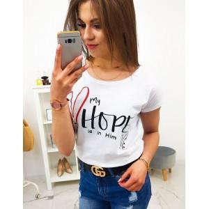 Originální dámské bílé tričko s krátkým rukávem a trendy potiskem