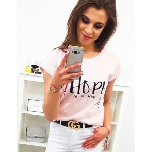Letní dámské růžové tričko s trendy nápisem
