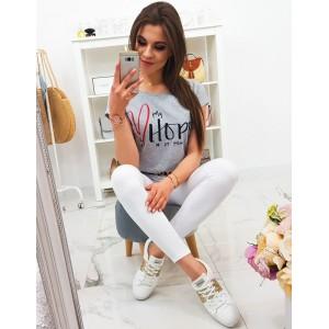 Dámské šedé tričko s krátkým rukávem a módním nápisem