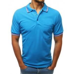 Tyrkysově modré pánské tričko s límečkem a barevným ozdobným lemem