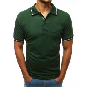 Stylové pánské polo tričko v zelené barvě s barevným lemem