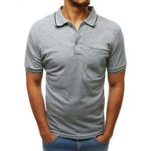 Pánské světle šedé polo tričko s ozdobným lemem v kontrastní barvě
