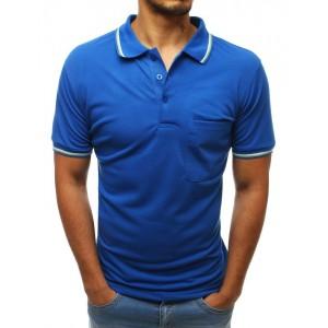 Azurově modré pánské tričko s límečkem a kapsou v přední části