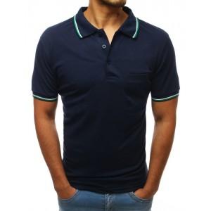 Stylové pánské tmavě modré polo tričko s ozdobným lemem