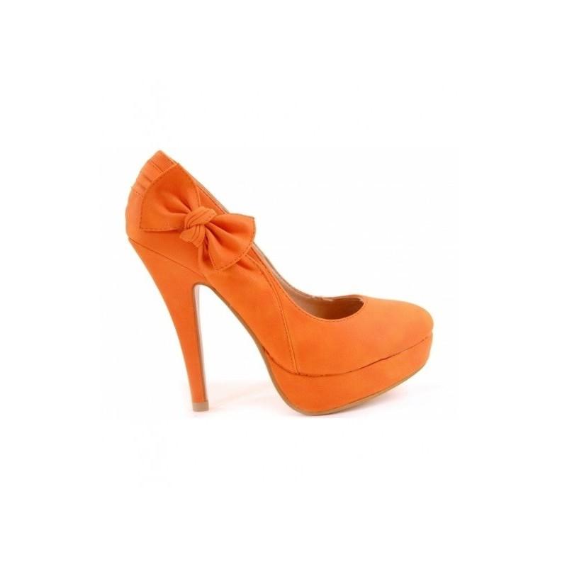 Elegantní dámské lodičky s mašlí oranžové barvy - manozo.cz 94a6b7eeb7