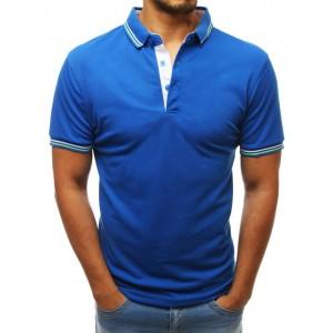 Pánské triko v modré barvě s límcem a na knoflíky