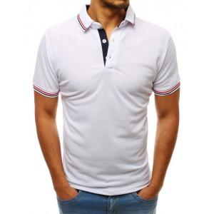 Bílé pánské tričko s ozdobným lemem na límci a rukávech