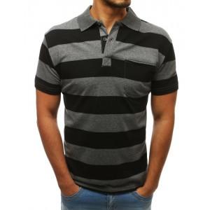 Černo šedé pánské polo tričko se zapínáním na knoflíky a kapsou