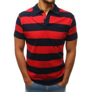 Stylové červeno modré proužkované tričko s krátkým rukávem a límečkem