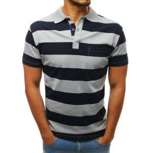Trendy pánské šedě modré proužkované polo tričko s kapsou
