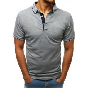 Moderní pánské tričko s límečkem v světle šedé barvě