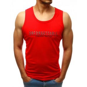 Červené pánské tričko s krátkým rukávem na léto s originálním nápisem