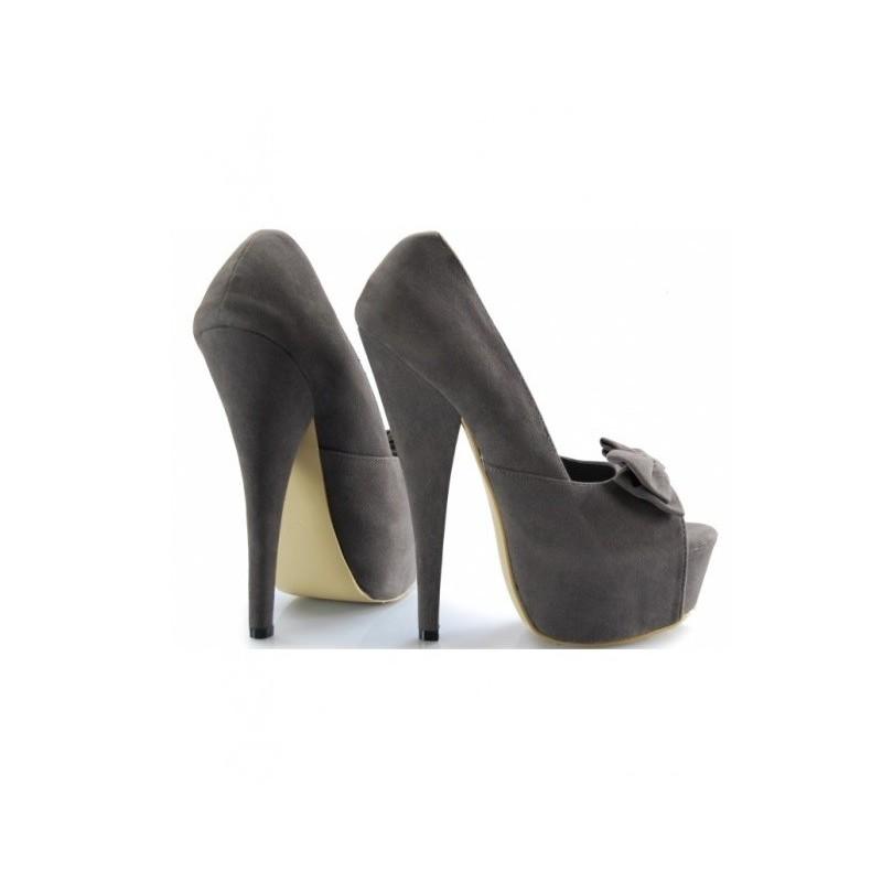 de97ccea16a Trendové dámské boty na platformě s mašlí a otevřenou špičkou šedé ...