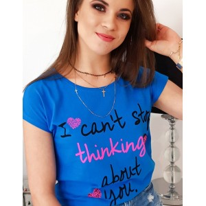 Krásné dámské tirčko v modré barvě s originálním nápisem