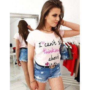 Pudrově růžové dámské tričko na léto s romantickým odkazem