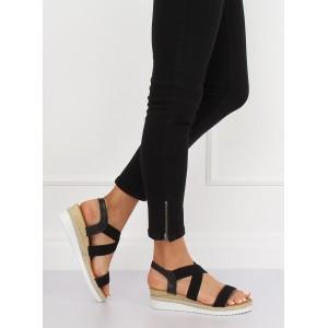 Pohodlné dámské černé sandály na platformě s pletencem v lemu
