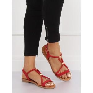 Stylové dámské červené nízké sandály se zapínáním kolem kotníku