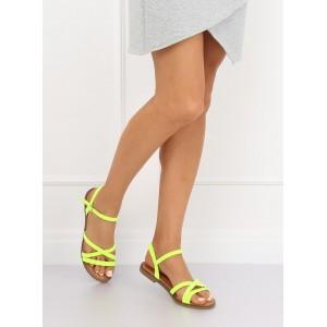 Moderní neonově žluté páskové dámské sandály na nízké podrážce