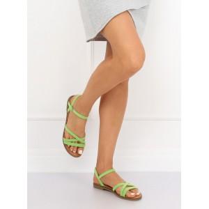 Zářivě zelené dámské páskové sandály na nízké podrážce