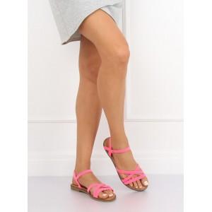 Neonově růžové dámské letní páskové sandály