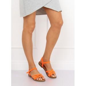 Dámské letní sandály v krásné oranžové barvě a na nízké podrážce