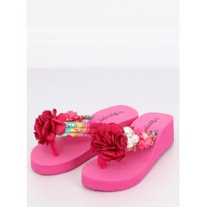 Krásné neonově růžové dámské pantofle na platformě s květem a perlami