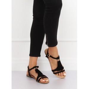 Pohodlné dámské černé sandály nízké s designovými třásněmi