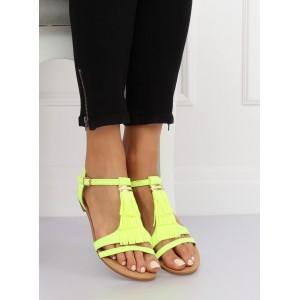 Moderní neonově žluté sandály s třásněmi a zlatou ozdobou