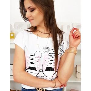 Trendy dámské tričko bílé s designovou potiskem tenisek